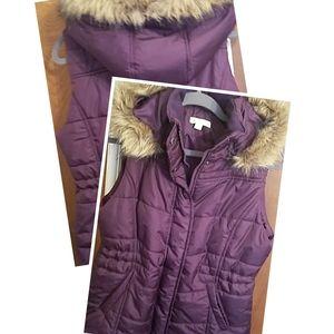 Purple Vest With Detachable Faux Fur Hood